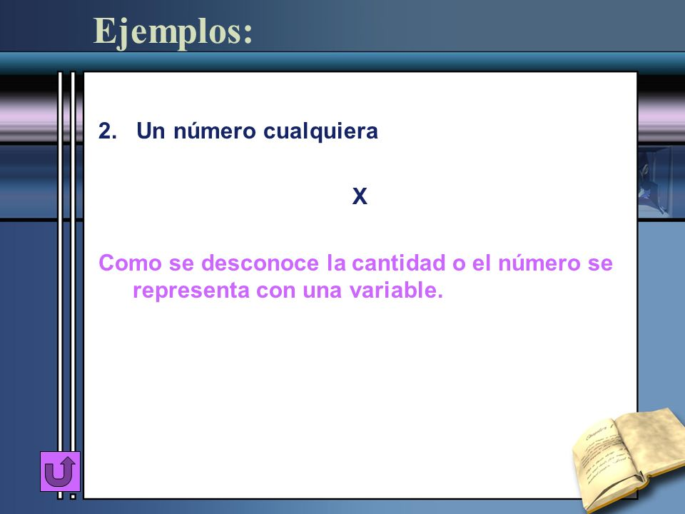 Ejemplos: 2. Un número cualquiera X