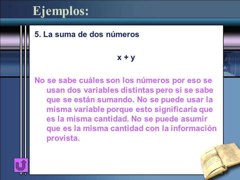Ejemplos: 5. La suma de dos números x + y