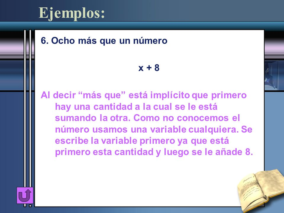 Ejemplos: 6. Ocho más que un número x + 8