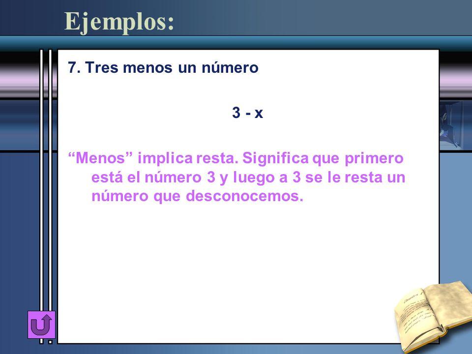 Ejemplos: 7. Tres menos un número 3 - x