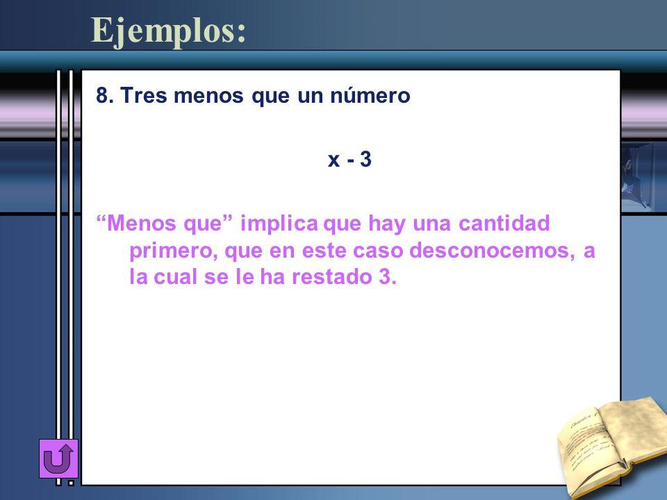 Ejemplos: 8. Tres menos que un número x - 3