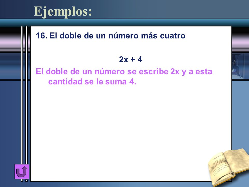 Ejemplos: 16. El doble de un número más cuatro 2x + 4