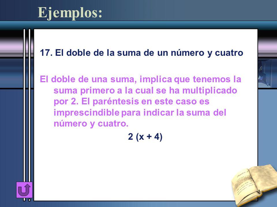Ejemplos: 17. El doble de la suma de un número y cuatro