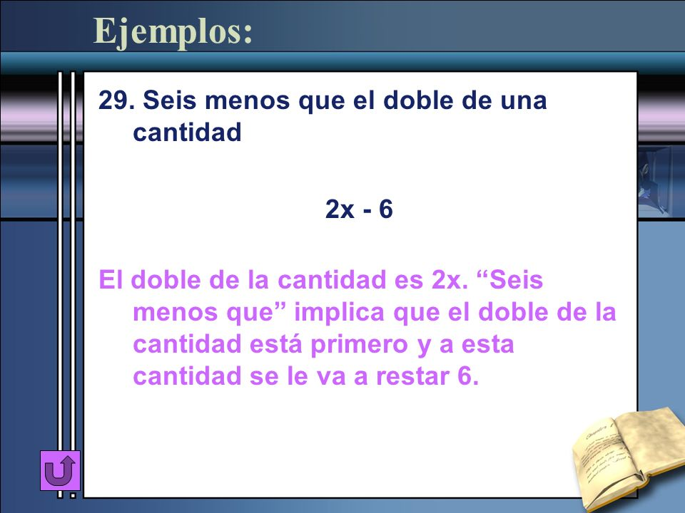 Ejemplos: 29. Seis menos que el doble de una cantidad 2x - 6