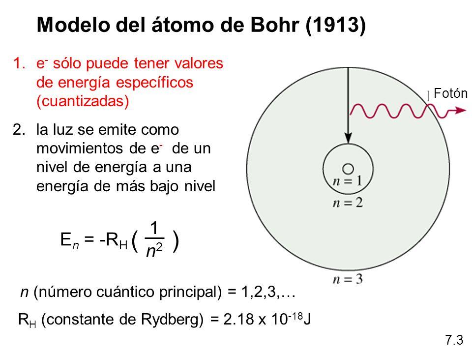 n (número cuántico principal) = 1,2,3,…
