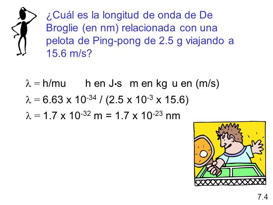 ¿Cuál es la longitud de onda de De Broglie (en nm) relacionada con una pelota de Ping-pong de 2.5 g viajando a 15.6 m/s