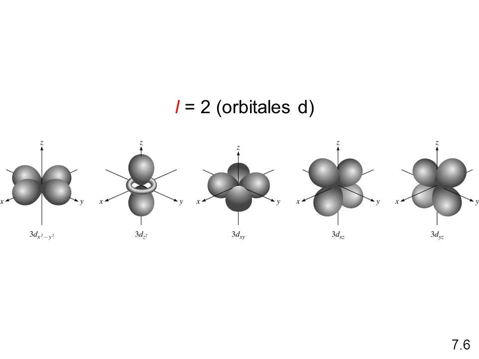 l = 2 (orbitales d) 7.6