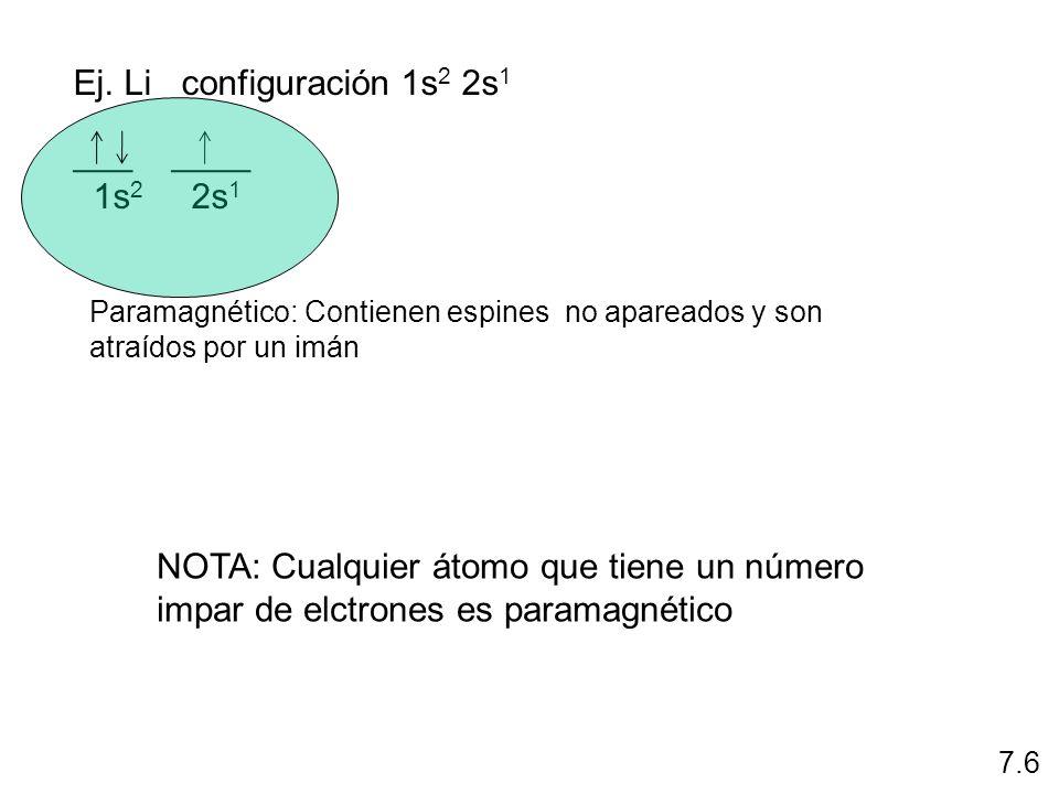 Ej. Li configuración 1s2 2s1 ___ ____ 1s2 2s1