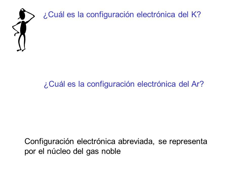 ¿Cuál es la configuración electrónica del K