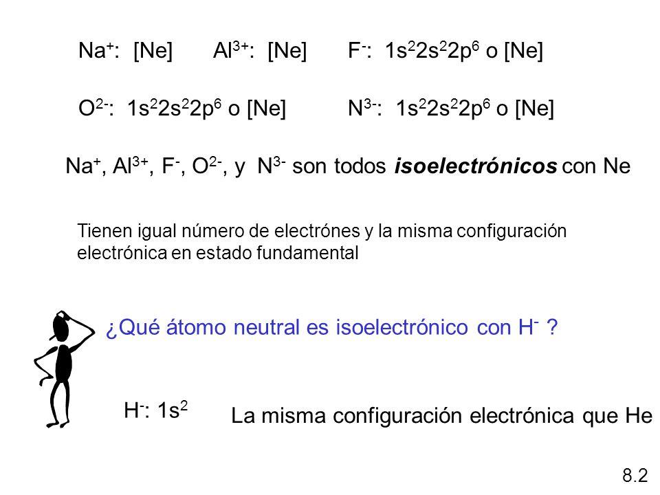 Na+, Al3+, F-, O2-, y N3- son todos isoelectrónicos con Ne