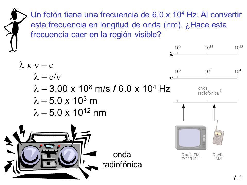l x n = c l = c/n l = 3.00 x 108 m/s / 6.0 x 104 Hz l = 5.0 x 103 m