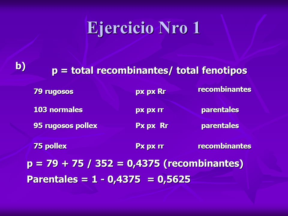 Ejercicio Nro 1 b) p = total recombinantes/ total fenotipos