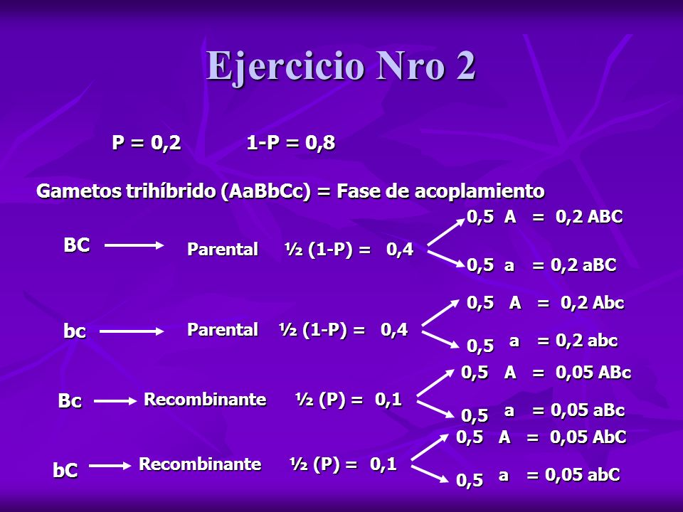 Ejercicio Nro 2P = 0,2. 1-P = 0,8. Gametos trihíbrido (AaBbCc) = Fase de acoplamiento. 0,5. A. = 0,2 ABC.