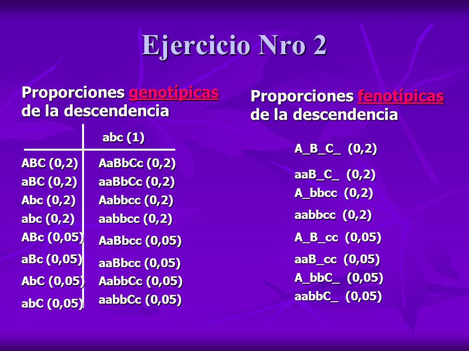 Ejercicio Nro 2 Proporciones genotípicas de la descendencia
