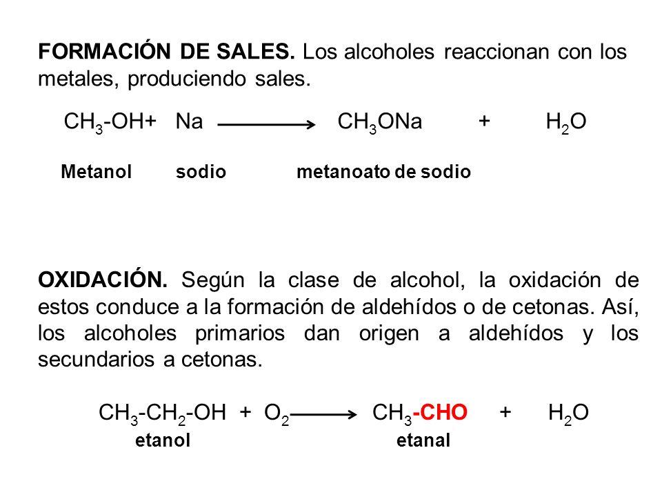 FORMACIÓN DE SALES. Los alcoholes reaccionan con los metales, produciendo sales.