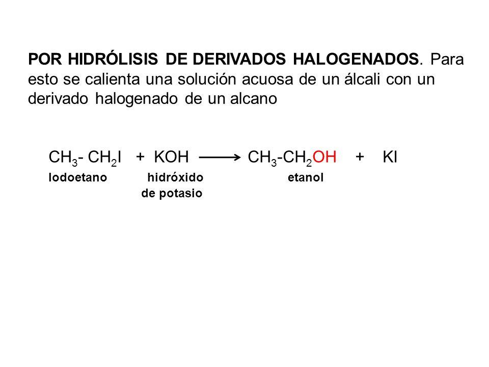 CH3- CH2I + KOH CH3-CH2OH + KI Iodoetano hidróxido etanol