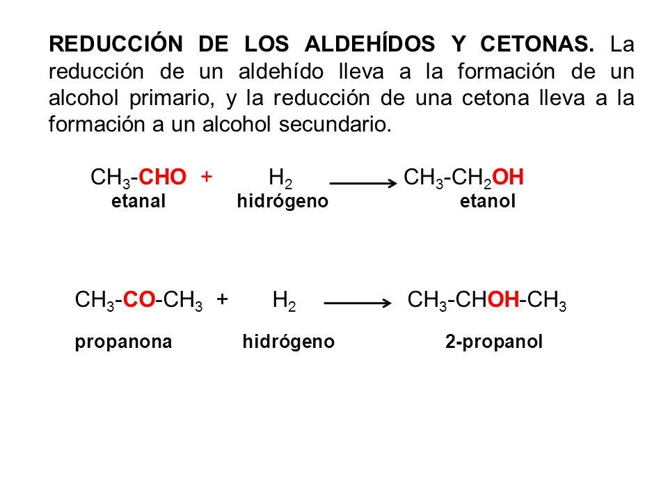 CH3-CO-CH3 + H2 CH3-CHOH-CH3