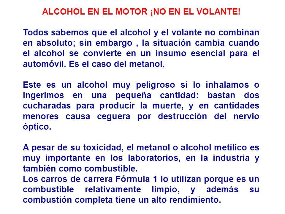 ALCOHOL EN EL MOTOR ¡NO EN EL VOLANTE!