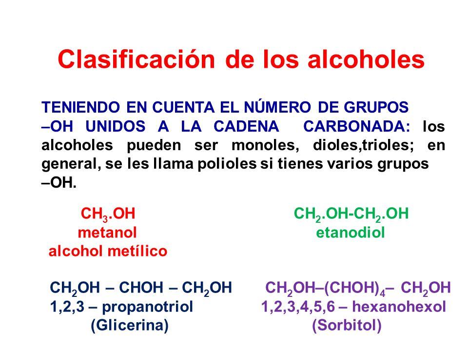 Clasificación de los alcoholes