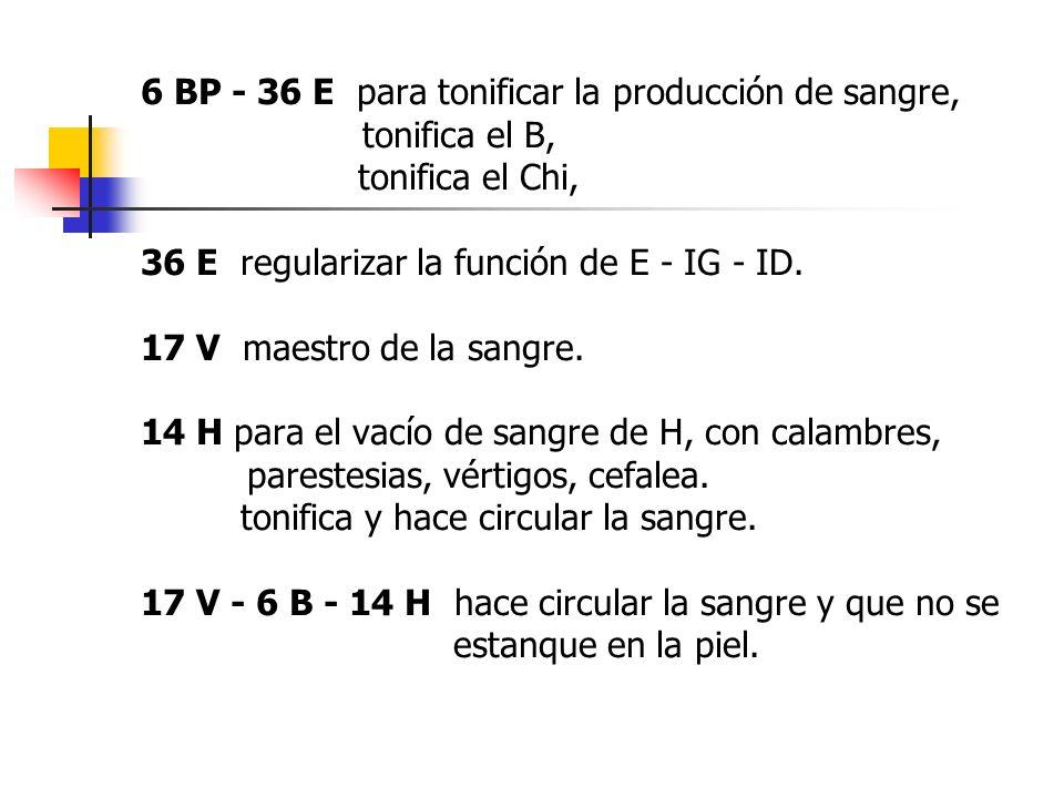 6 BP - 36 E para tonificar la producción de sangre,