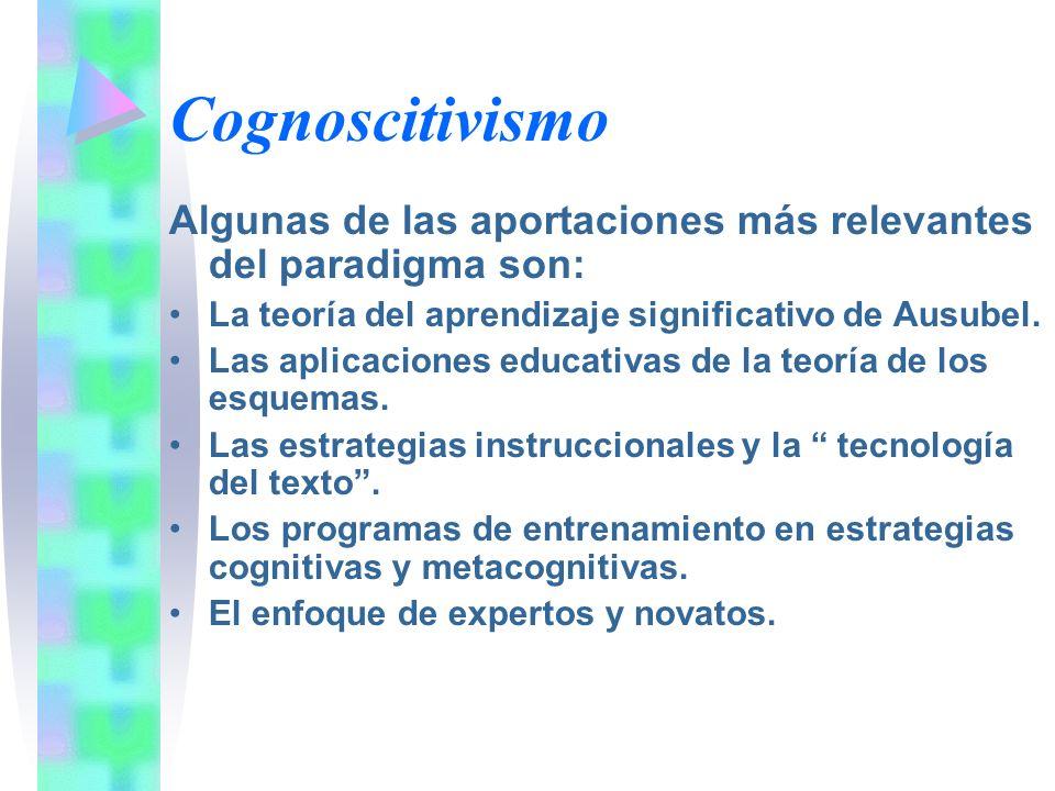 Cognoscitivismo Algunas de las aportaciones más relevantes del paradigma son: La teoría del aprendizaje significativo de Ausubel.