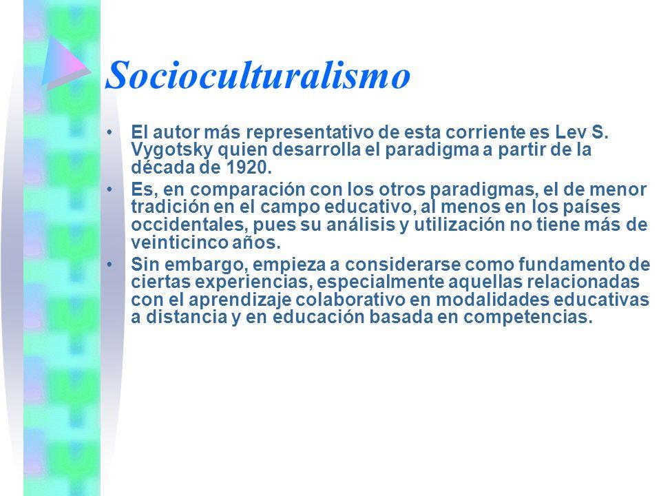 Socioculturalismo El autor más representativo de esta corriente es Lev S. Vygotsky quien desarrolla el paradigma a partir de la década de 1920.