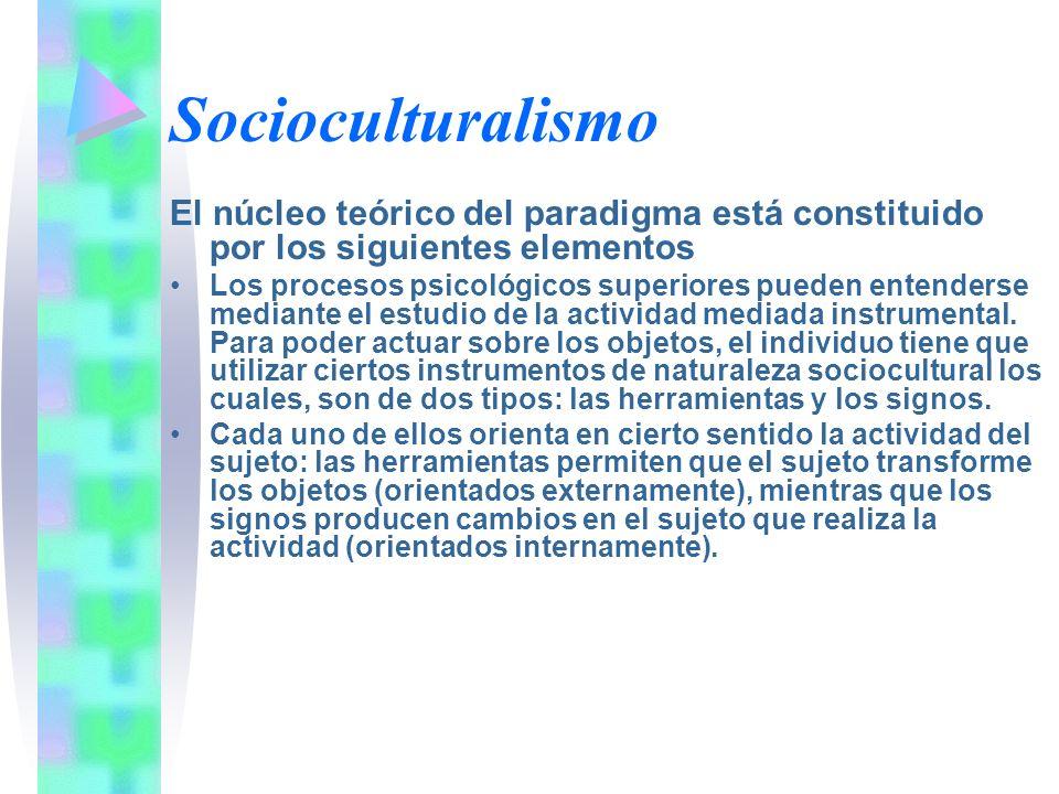 Socioculturalismo El núcleo teórico del paradigma está constituido por los siguientes elementos.