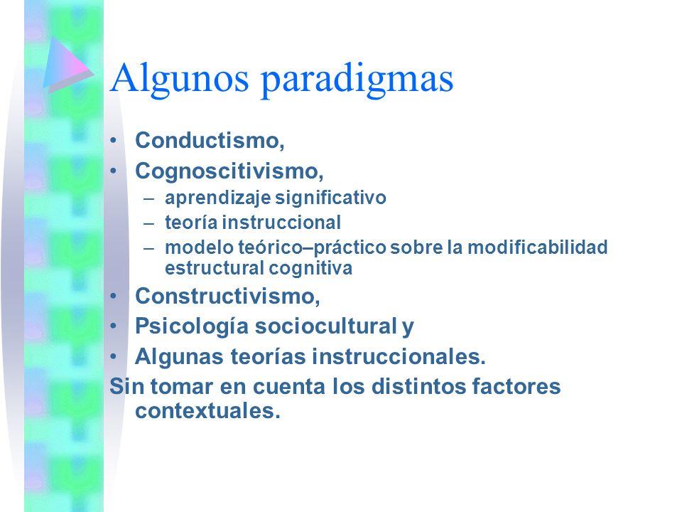 Algunos paradigmas Conductismo, Cognoscitivismo, Constructivismo,