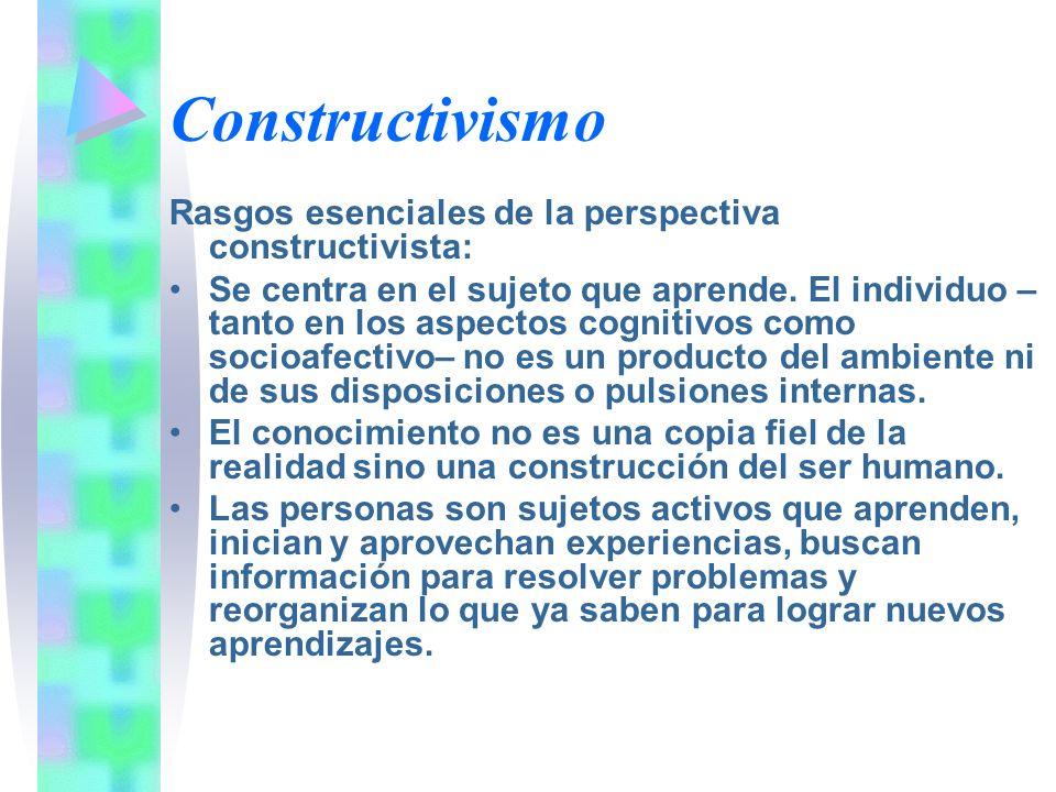 Constructivismo Rasgos esenciales de la perspectiva constructivista: