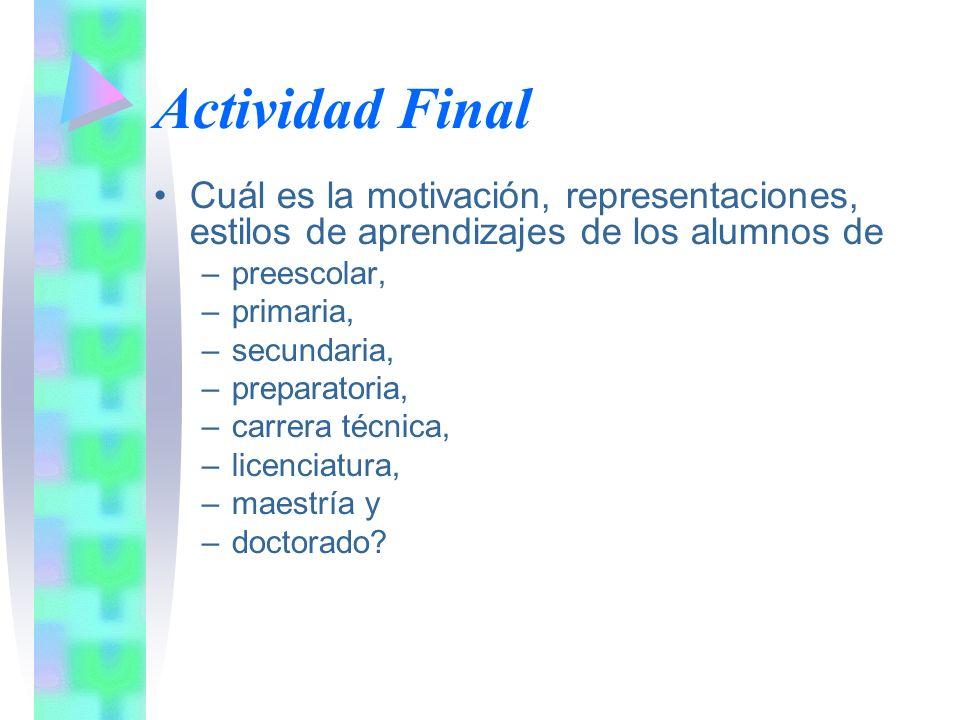 Actividad Final Cuál es la motivación, representaciones, estilos de aprendizajes de los alumnos de.