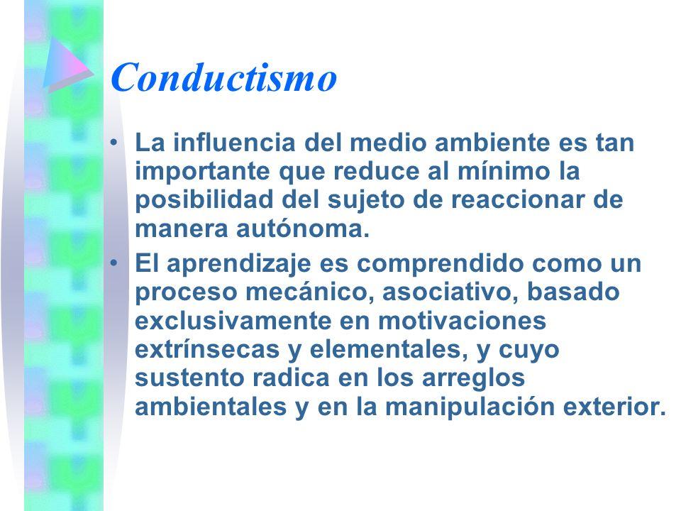Conductismo La influencia del medio ambiente es tan importante que reduce al mínimo la posibilidad del sujeto de reaccionar de manera autónoma.
