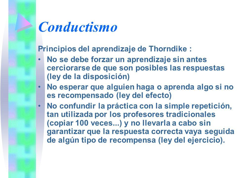 Conductismo Principios del aprendizaje de Thorndike :