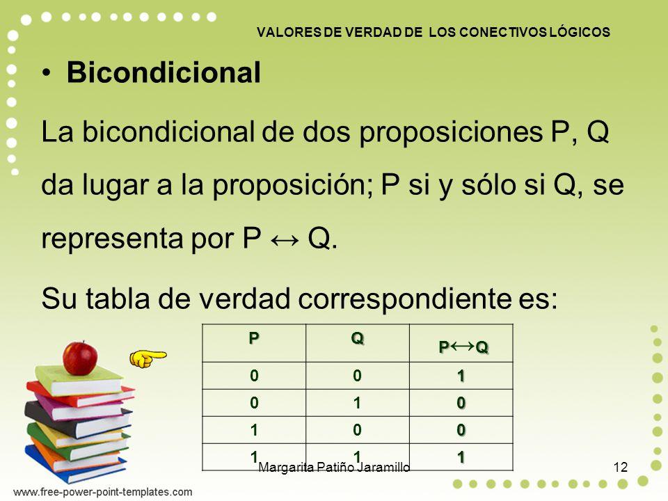 VALORES DE VERDAD DE LOS CONECTIVOS LÓGICOS