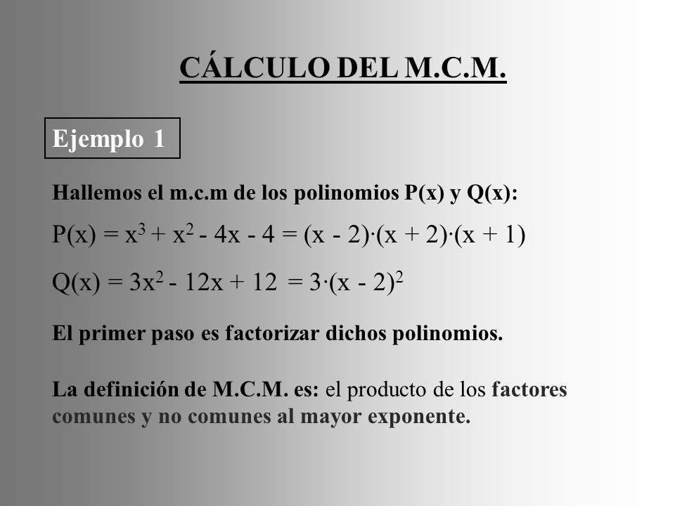 CÁLCULO DEL M.C.M. Ejemplo 1 P(x) = x3 + x2 - 4x - 4