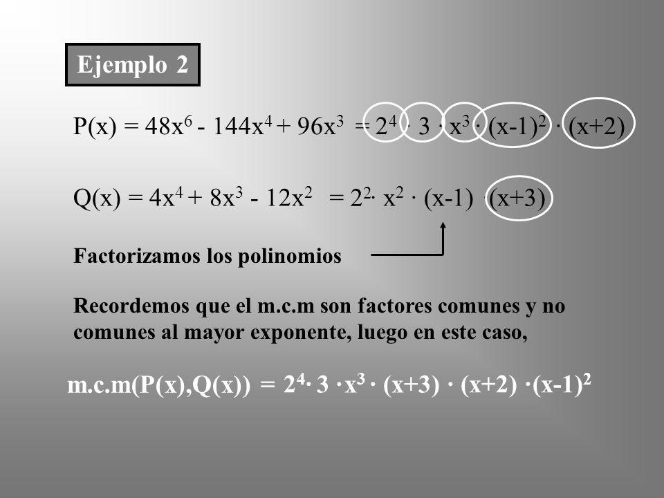 Ejemplo 2 P(x) = 48x6 - 144x4 + 96x3 = 24 · 3 · x3 · (x-1)2 · (x+2)