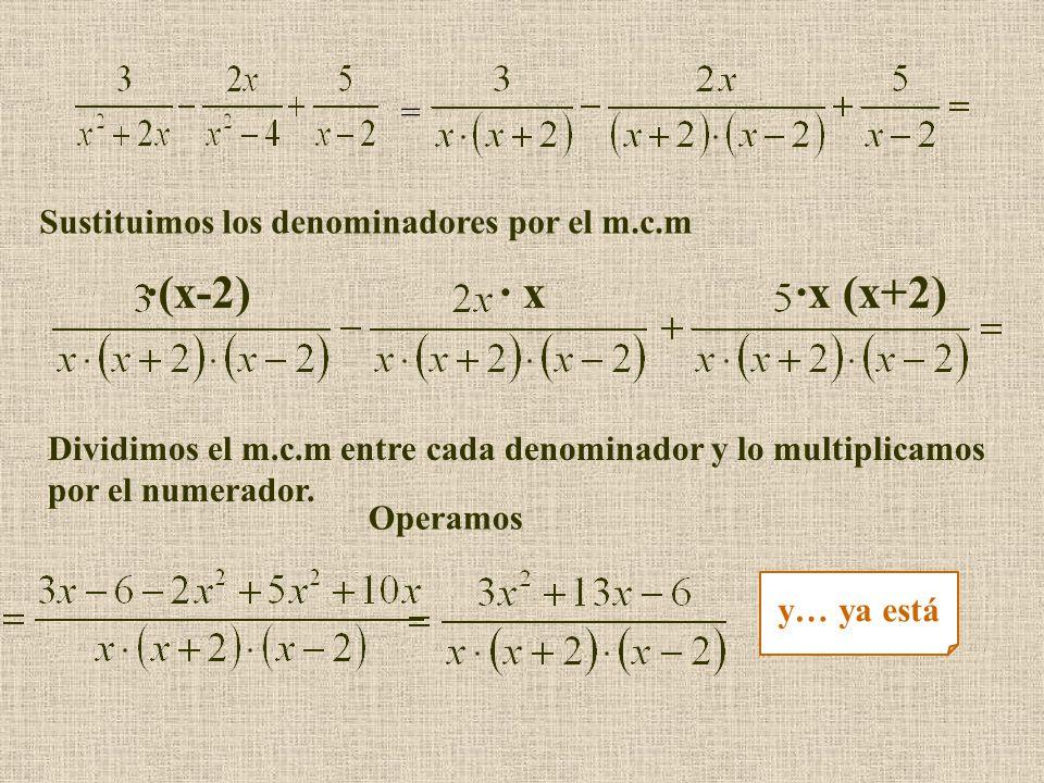 ·(x-2) · x ·x (x+2) = Sustituimos los denominadores por el m.c.m