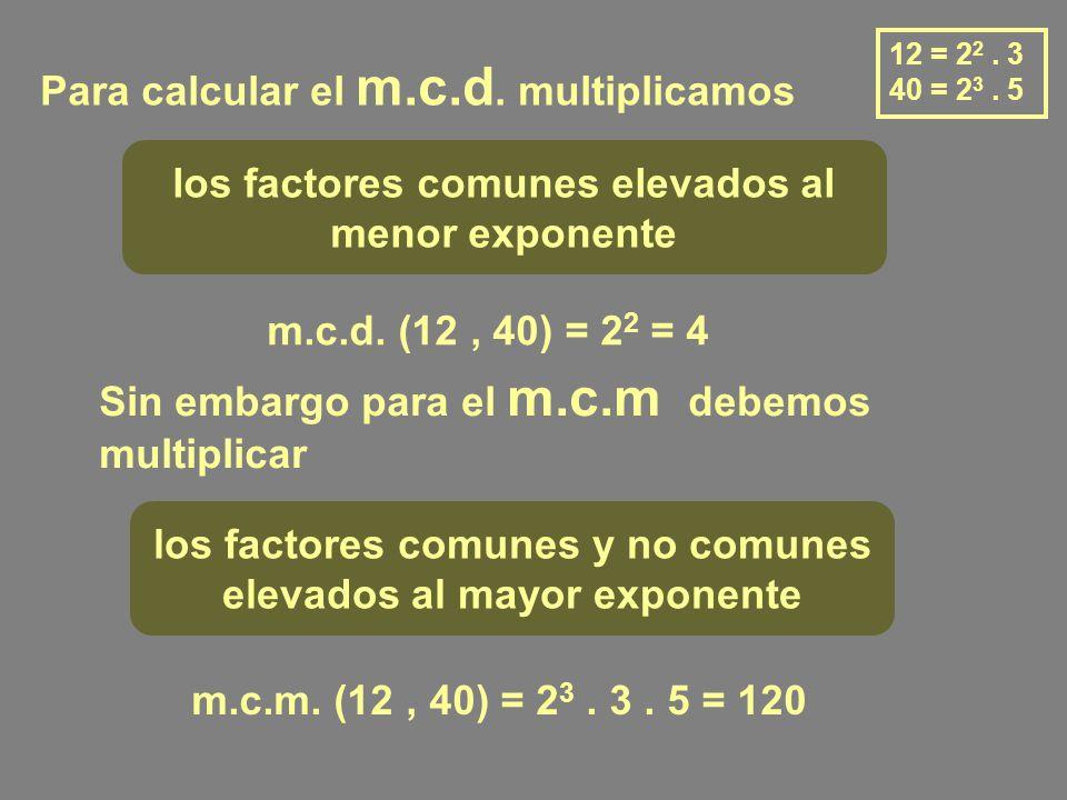 Para calcular el m.c.d. multiplicamos