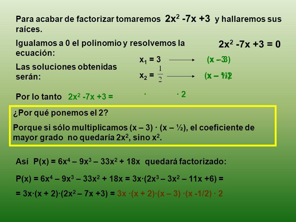 Para acabar de factorizar tomaremos 2x2 -7x +3 y hallaremos sus raíces.
