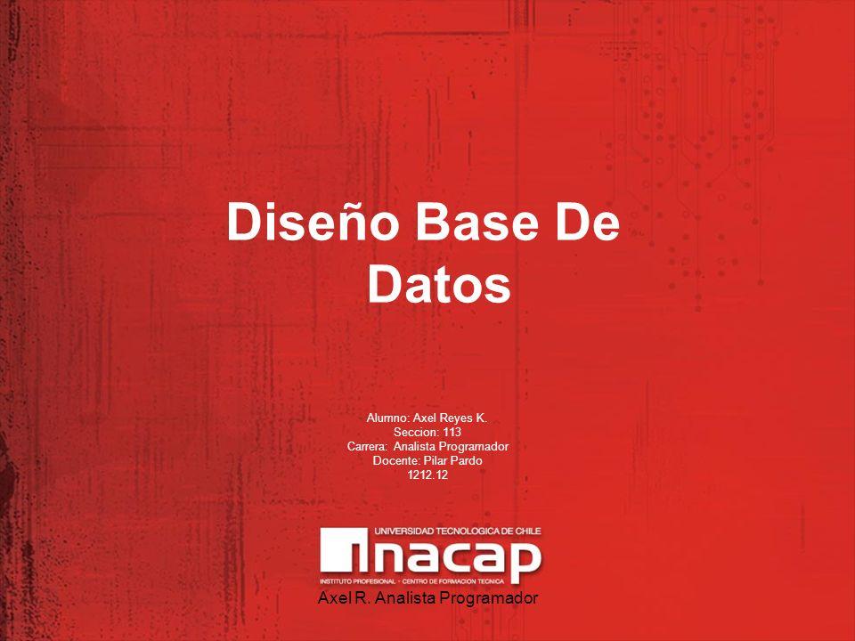 Diseño Base De Datos Axel R. Analista Programador