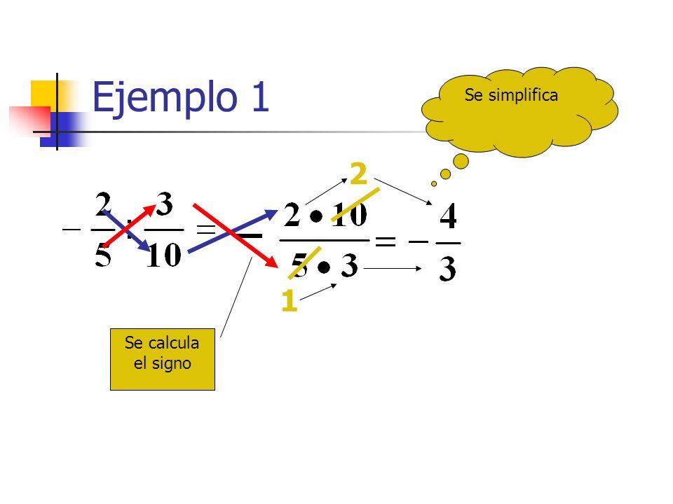 Ejemplo 1 Se simplifica 2 1 Se calcula el signo