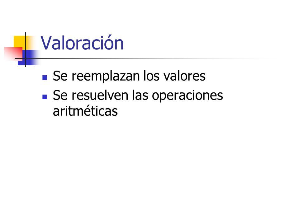 Valoración Se reemplazan los valores