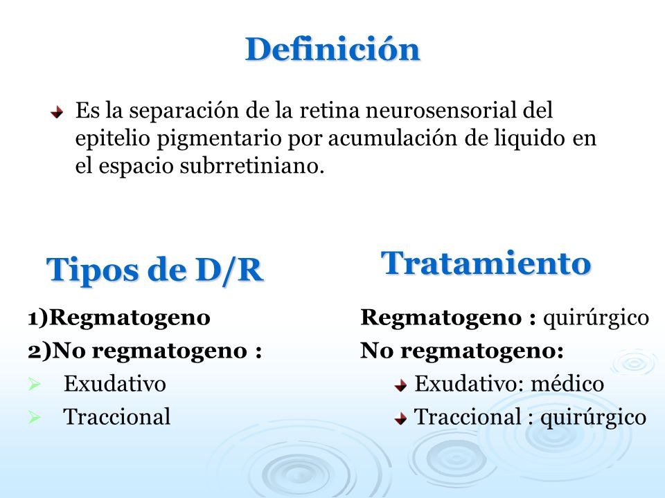 Definición Tipos de D/R Tratamiento
