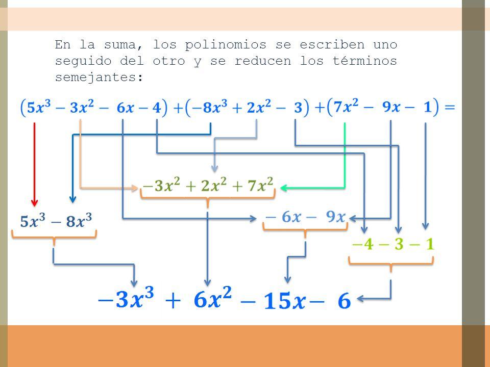 En la suma, los polinomios se escriben uno seguido del otro y se reducen los términos semejantes:
