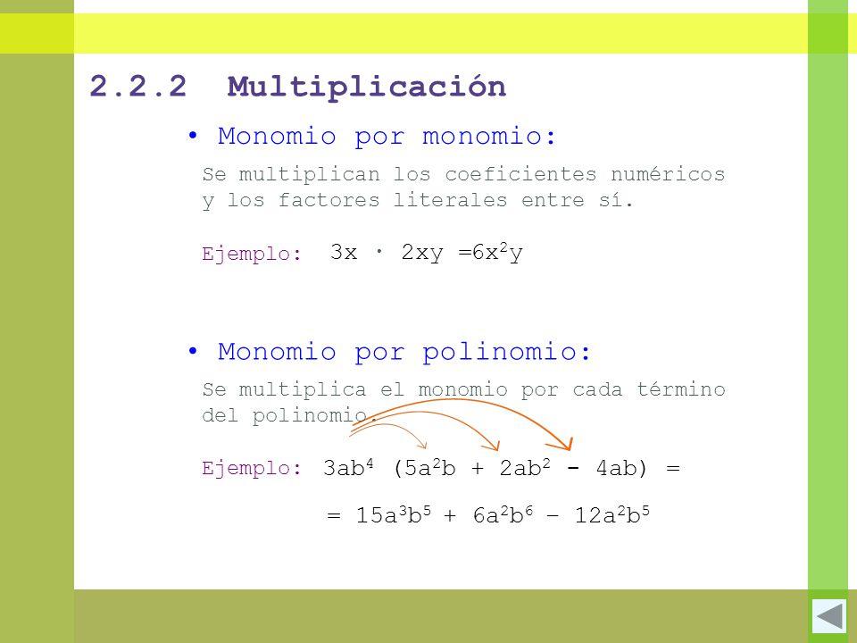 2.2.2 Multiplicación Monomio por monomio: Monomio por polinomio: