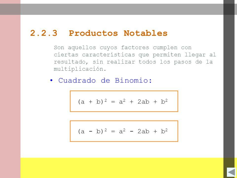 2.2.3 Productos Notables Cuadrado de Binomio: (a + b)2 = a2 + 2ab + b2