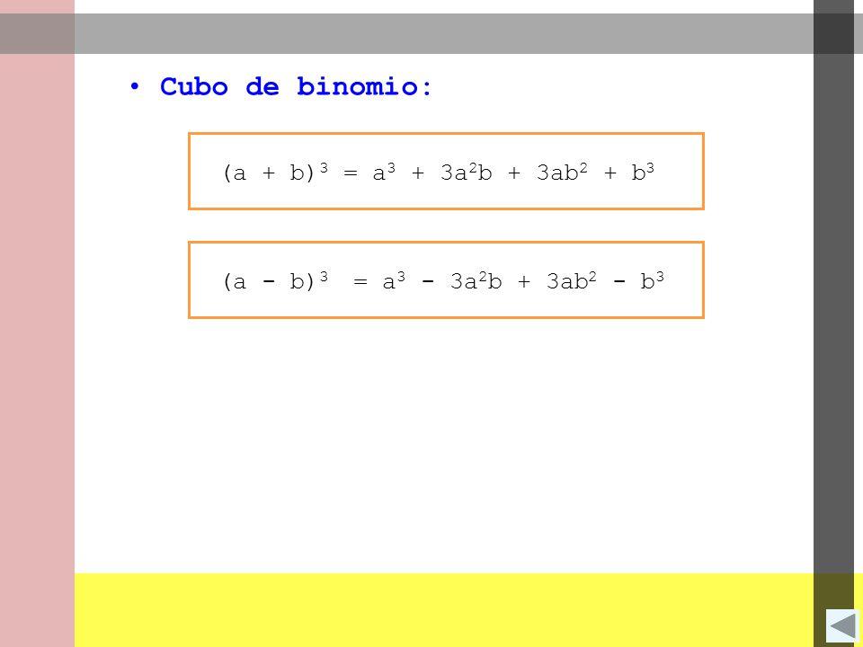 Cubo de binomio: (a + b)3 = a3 + 3a2b + 3ab2 + b3