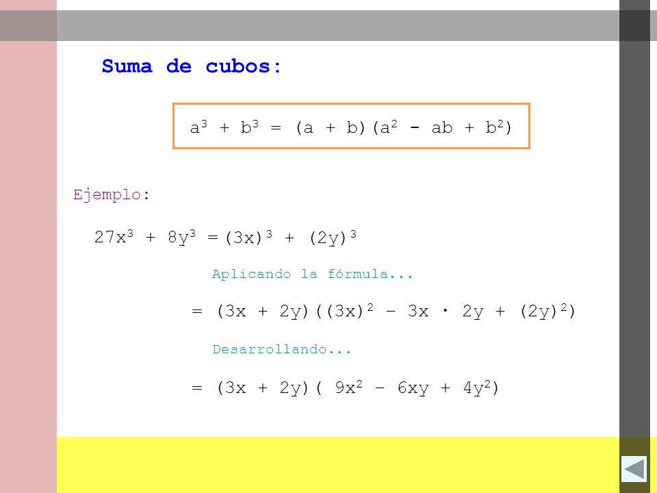 Suma de cubos: a3 + b3 = (a + b)(a2 - ab + b2) 27x3 + 8y3 =