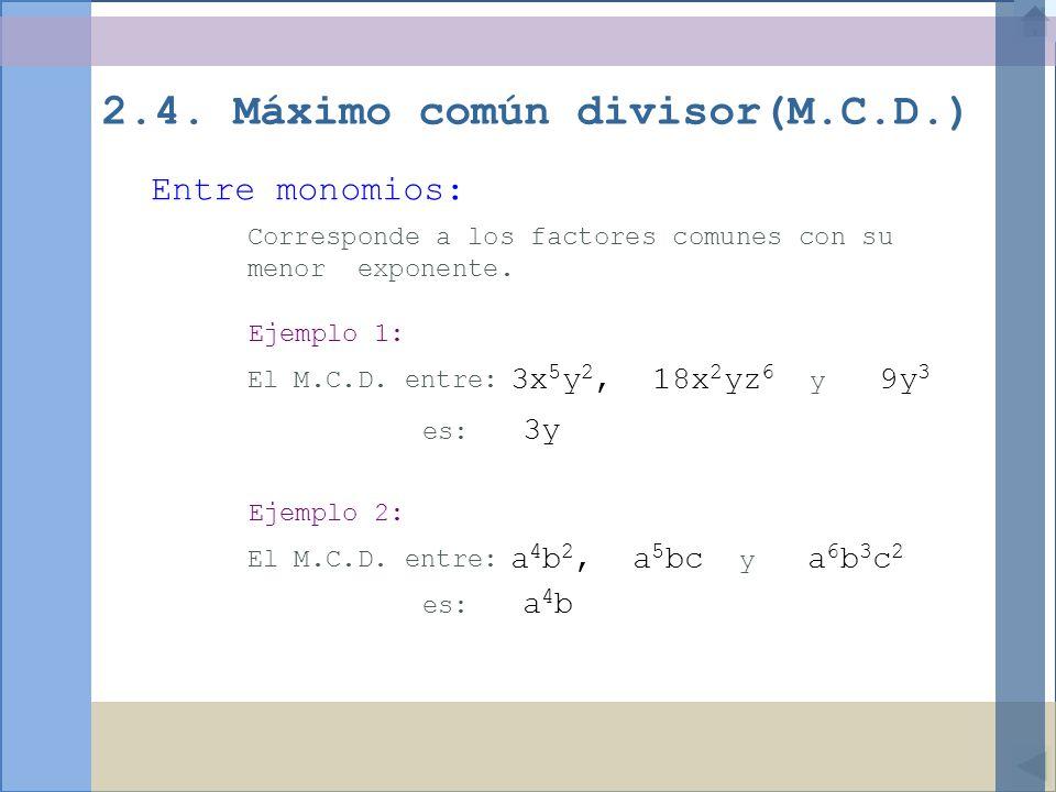 2.4. Máximo común divisor(M.C.D.)