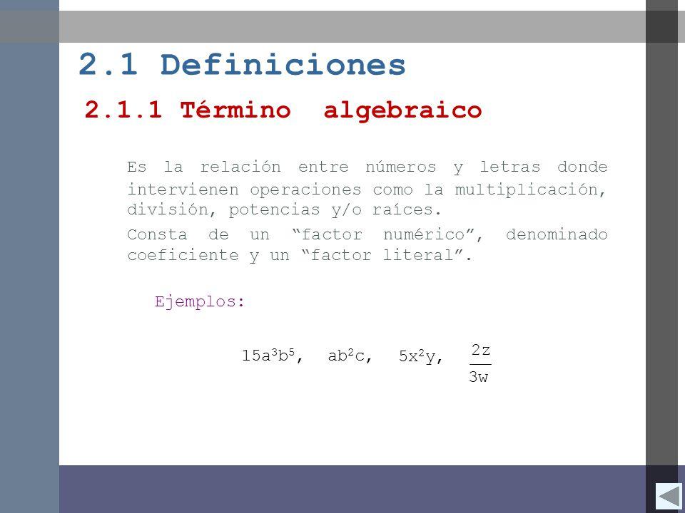 2.1 Definiciones 2.1.1 Término algebraico