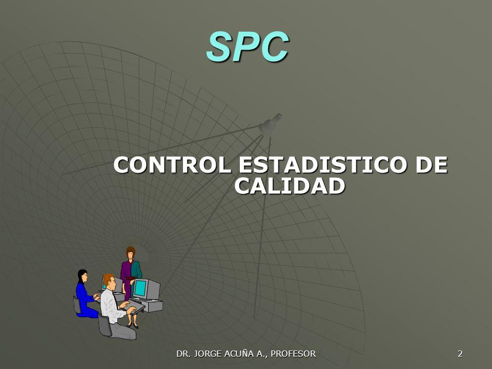 SPC CONTROL ESTADISTICO DE CALIDAD DR. JORGE ACUÑA A., PROFESOR